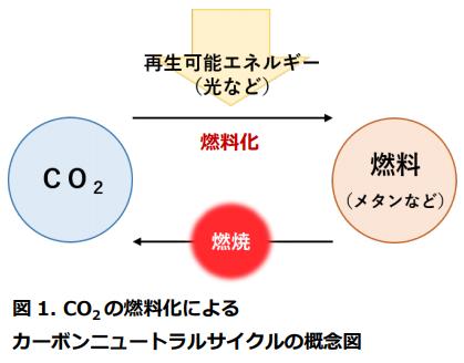 二酸化炭素(CO2)を光の力で燃料に再生!「CO2光燃料化」反応経路を初めて解明の概要写真