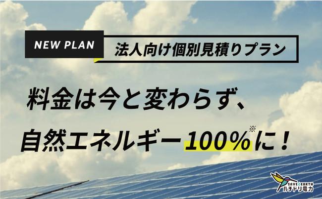 ハチドリ電力、法人向け<個別見積りプラン>を新設 〜今までと同じ料金で自然エネルギー100%を実現〜の概要写真