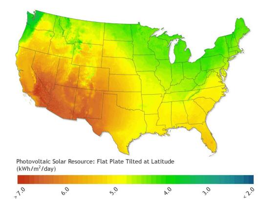 GISによる日射量分布マップ