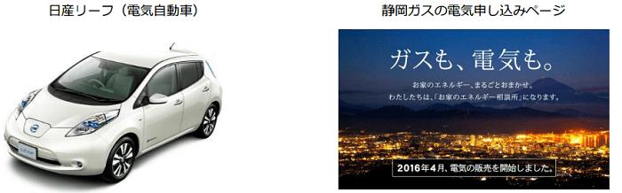日産リーフ(電気自動車)と静岡ガスの電気申し込みページ