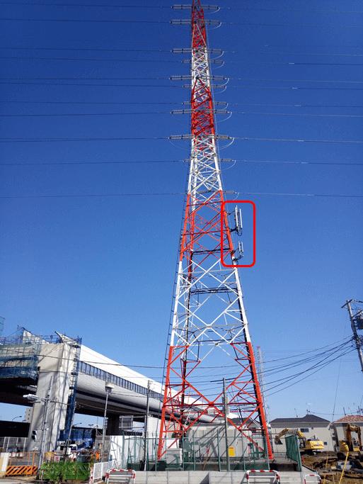 携帯電話基地局が設置されている送電鉄塔