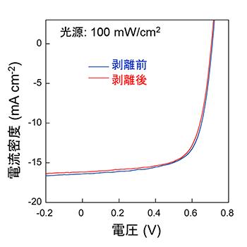 超薄型有機太陽電池の電流・電圧特性