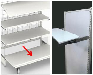 スライド式の棚板/ブラケットの採用