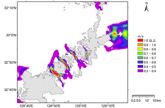 長崎県五島列島周辺の流速分布