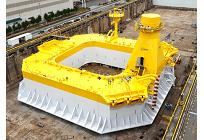 次世代の浮体式洋上風力発電、バージ型浮体が完成、NEDOと日立造船が協力の写真