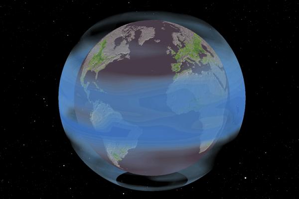 ピナツボ山の噴火を現したイラスト、青色は反射性エアロゾル、緑色は作物